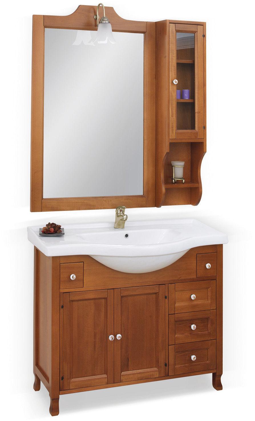 Arredo bagno firenze 105 frontale in massello legno finitura noce o ciliegio - Arredo bagno in legno ...