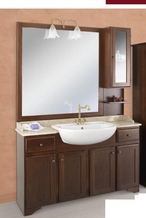 Arredo bagno mobile classico elba legno finitura noce - Arredo bagno in legno ...