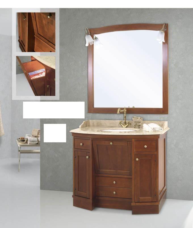 Arredo bagno mobile classico roma legno massello finitura noce - Arredo bagno in legno ...