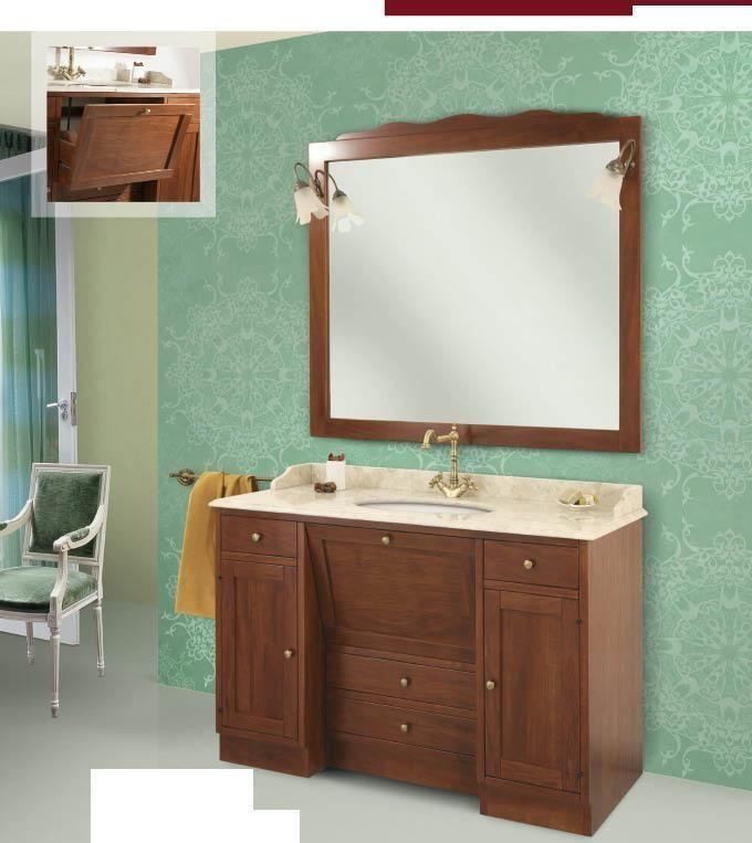arredo bagno mobile classico roma cm130x58 legno massello finitura noce