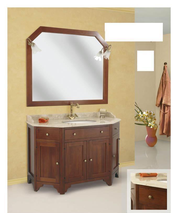Arredo bagno mobile classico roma scantonato legno massello finitura noce - Arredo bagno in legno ...