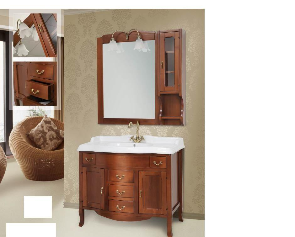 Arredo bagno mobile classico tivoli legno massello finitura noce - Arredo bagno in legno ...