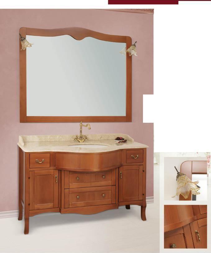 Arredo bagno mobile classico tivoli legno massello - Top bagno legno massello ...