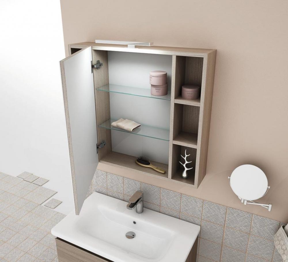 Mobile Bagno Specchio Contenitore.Arredo Bagno Mobile Soft 04 Cm 80 Specchio Contenitore Finitura