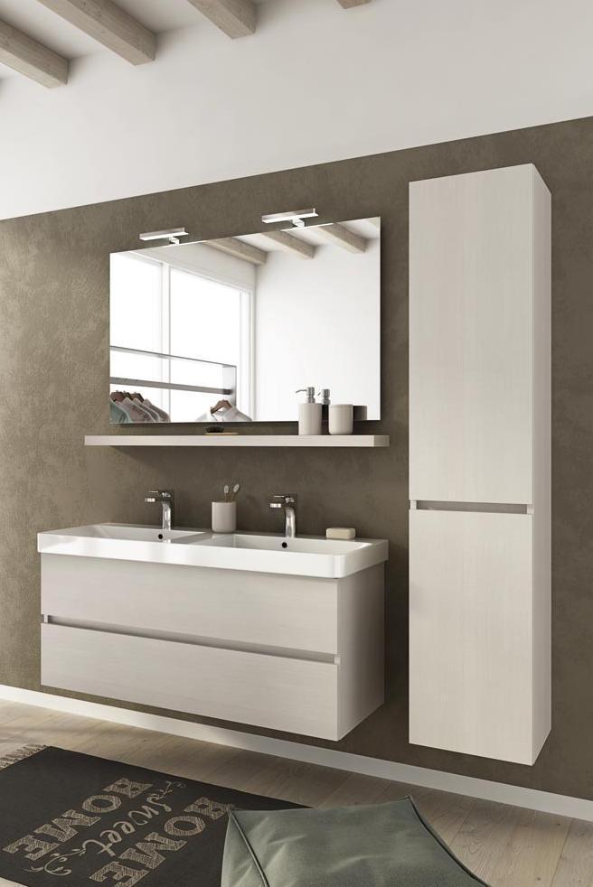 Arredo bagno mobile soho s15 2 lavabi e colonna for Mobile bagno 2 lavabi