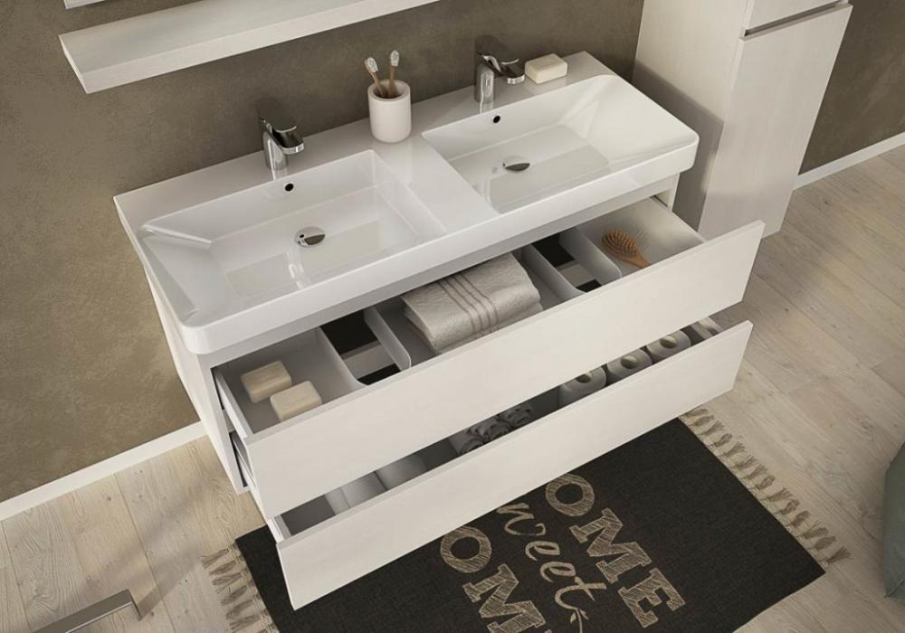 bagno mobile soho s15 2 lavabi e colonna cm.120+35 tranche' rovere ... - Arredo Bagno 2 Lavabi