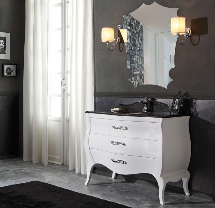 Arredo Bagno Bianco E Nero.Arredo Bagno Vintage03 Cm 108 Bianco Lucido E Top Marmo Nero