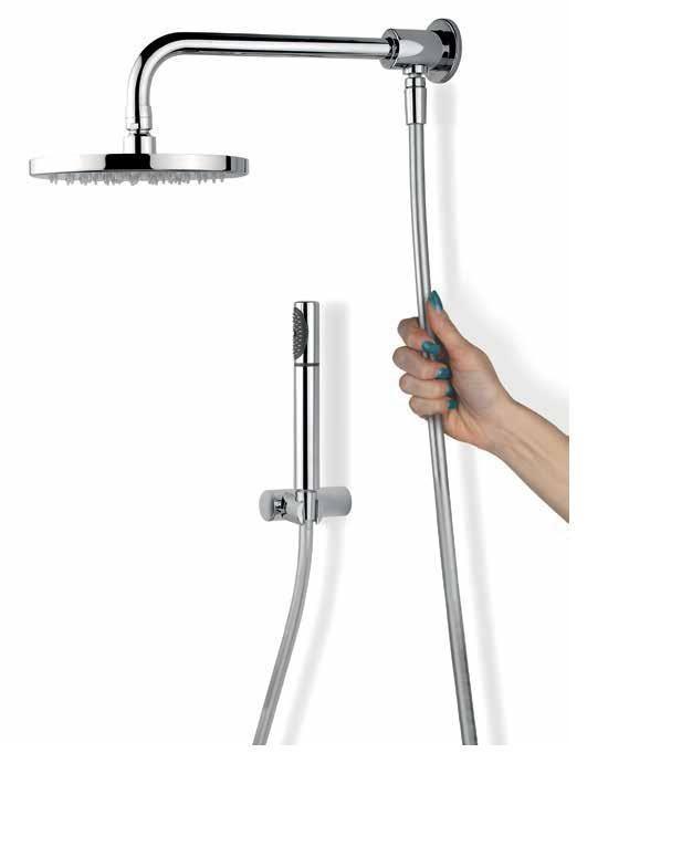 Kit braccio doccia lux deviatore soffione doccetta e flex silver - Altezza soffione doccia ...
