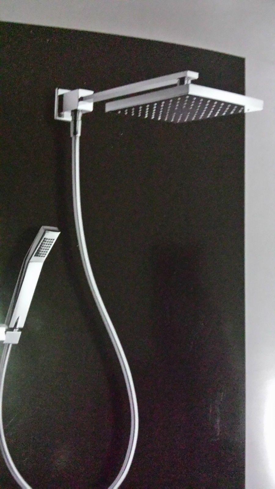 Kit Braccio Doccia Lux Quadro Deviatore Soffione 20x20 Doccetta E Flex Silver