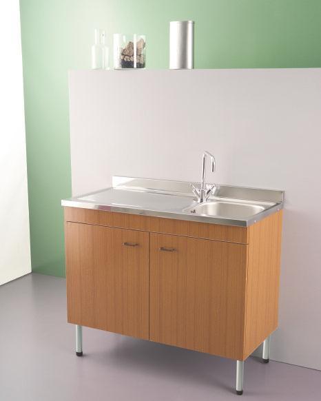 Lavello inox 100x50 una vasca e scolapiatti con mobile 2 for Lavello cucina bianco